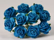 1.5cm DEEP TURQUOISE Mulberry Paper Roses
